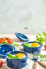Portioned casserole from vegetables and eggs in Italian style