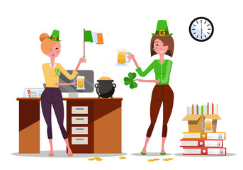 Two young women office workers celebrate St. Patrick's Day at workplace with beer mugs, Ireland flag in hands. Piles of paper documents, beer mugs, Gold Coins on desk. Flat cartoon vector illustration