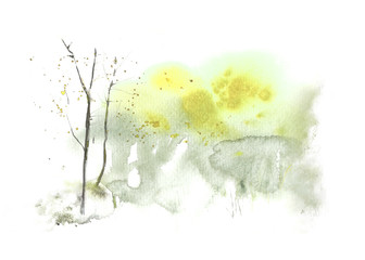 Spring abstract watercolor landscape with tree. Watercolor stains and washes. Hand painted, high resolution