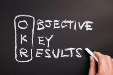 Objective Key Results (OKR) on Chalkboard