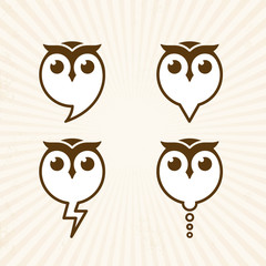 Four Owl icon vector Illustrations