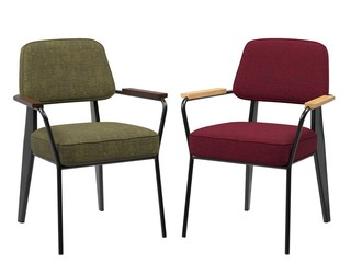 2 modern chairs for cafe, green and red
