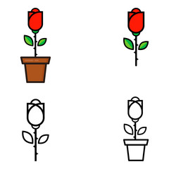 cartoon red rose in a pot and rose outline set