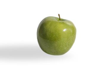 una manzana verde, aislada, sobre fondo blanco