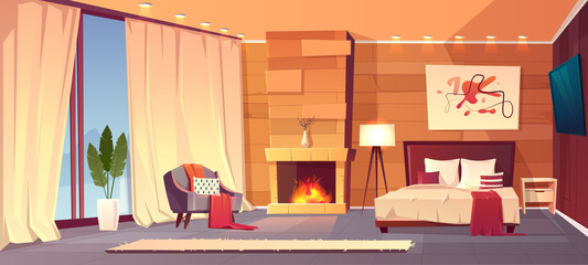Vector cartoon interior of cozy hotel bedroom with furniture - double bed, carpet and fireplace. Living apartment of winter resort with window and curtains. Colorful background.