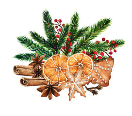Merry Christmas, fir branches, red berries,gingerbread, orange,spices,card for you, handmade,watercolor illustrations
