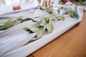 Beautiful flower decoration at dining tables