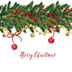 Merry Christmas,fir branches,christmas red berries,bells,gold stars,card for you,handmade,watercolor illustrations