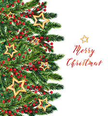 Merry Christmas,fir branches,christmas red berries,gold stars,watercolor illustrations,card for you,handmade