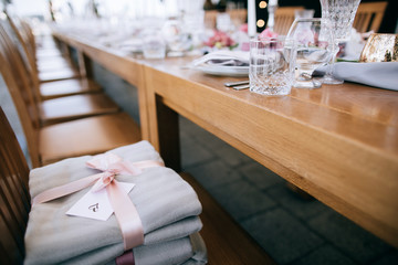 Warm plaid, gift for guests on the wedding