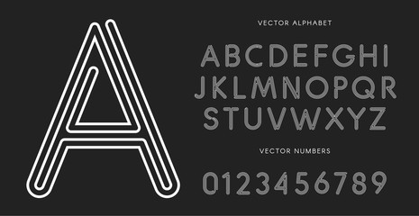 Line letters and numbers set on black background. Monochrome vector latin alphabet. Lacing white font. Rope ABC, maze monogram and poster template. Typography design.