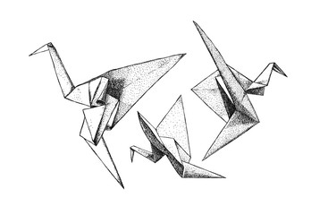 Tree origami cranes isolated from the background. East art of origami. Paper birds. Hand drawn, ink, graphics, vintage illustration.