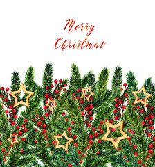 Merry Christmas,fir branches,christmas red berries,gold stars,watercolor illustrations,handmade,card for you