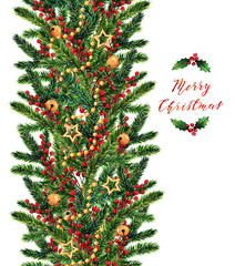 Christmas watercolor illustration,fir branches,red berries,bells,gold stars,handmade,card for you