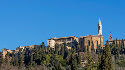 Panoramic view of the historic center of Pienza from below, Siena, Tuscany, Italy