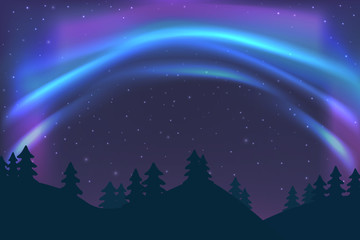 Night sky with aurora over spruce forest in winter, blue northern light with stars, polar light glowing, polar streamers. Vector