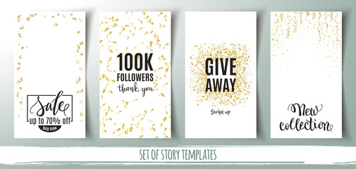 Set of social media story templates, banners with gold confetti background and shopping messages, vector illustration