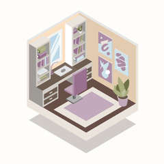 isometric vector illustration of room - cabinet with computer and work table