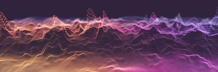 Fotoväggar - Colorful Wavy Particle Surface Banner