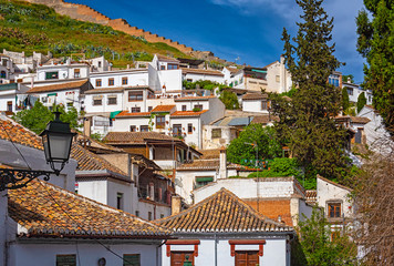 Houses in the old town of Granada, Spain