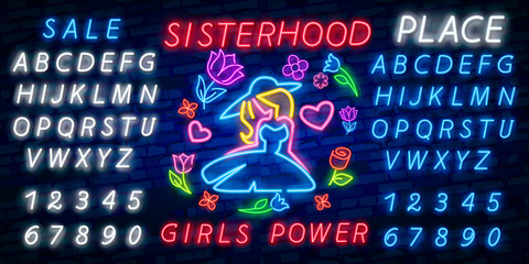 Rock print and slogan vector. Girl Power For T-shirt or other purposes. Symbol of feminism for printing in a neon style. Neon sign Retro style. Womens fashion slogan