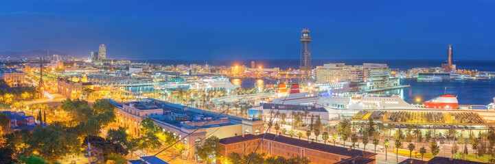 Panoramic View of Barcelona Harbor and Marina at NIght