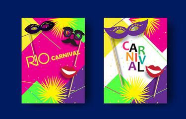 Rio Carnival festive posters set. Musicians, confetti fireworks, mask, masquerade. Festival abstract colorful geometric banner. Brazilian, Venetian, Mardi Gras, Samba wallpaper vector