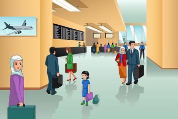 Inside Airport Scene Illustration