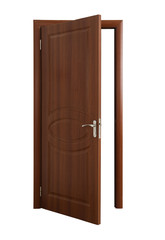 Opened brown wooden door isolated on white