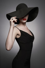 Printed kitchen splashbacks womenART portrait of young lady with black hat and evening dress
