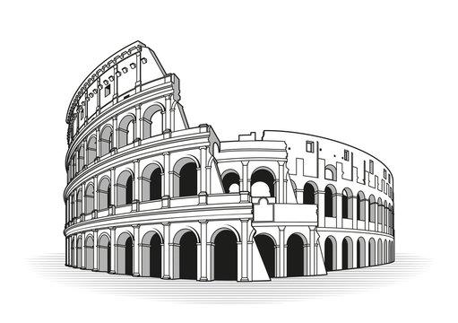 Rome coliseum hand drawn outline doodle icon