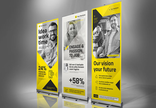 Roll-up Banner Layout with Yellow Accents