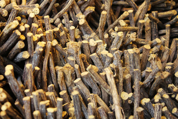 Licorice roots in a basket, natural product