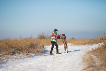 man playing with her German shorthaired pointer in winter landscape Hunter dog Girl is having fun with his adorable dog in the snow Man training boy dog in the winter field