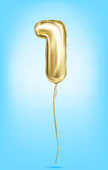 High quality vector image of gold balloon numbers. Digit 1, one