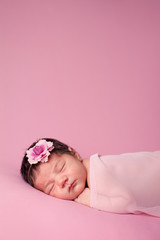 Newborn Baby Girl Sleeping on Pink Background - Room for Text