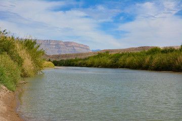 The Rio Grande river in Big Bend National Park. The river is the international border between the U.S. and Mexico.
