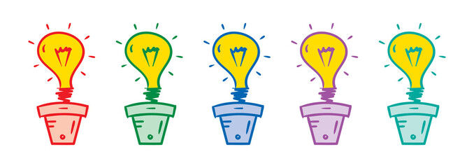 colorful light bulb and flower pots concept