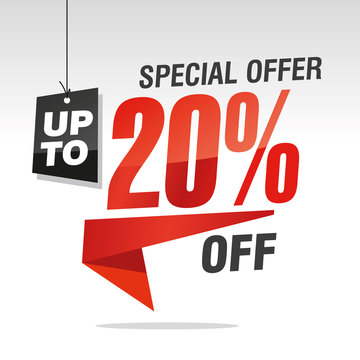 20 percent off special offer sale isolated red black grey origami speech sticker icon