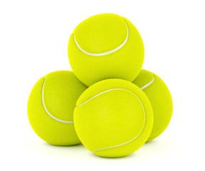 Tennis balls on white