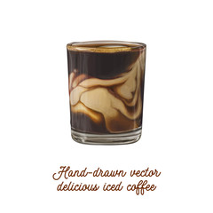 Delicious tasty hand-drawn vector iced coffee