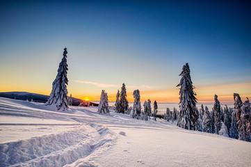 Winter trekking Beskidy mountains Rysianka
