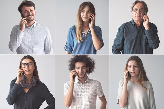 People talking on mobile phone