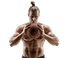 Basketball player with a ball. Photo of man with perfect body isolated on white background. Strength and motivation