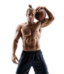 Strong basketball player with ball. Photo of handsome man shirtless isolated on white background. Strength and motivation