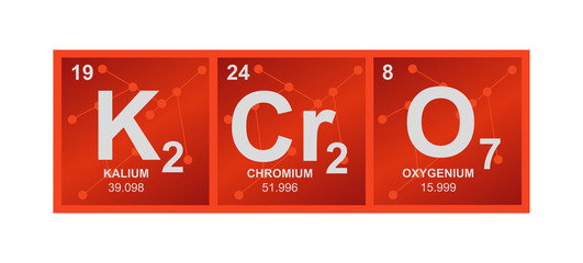Vector symbol of K2Cr2O7 Potassium dichromate. Orange molecule – oxidizing agent on the background from connected molecules. Illustration is isolated on a white background.