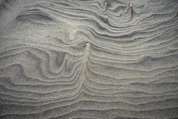 dessins abstraits réalisés par le vent sur une plage de sable