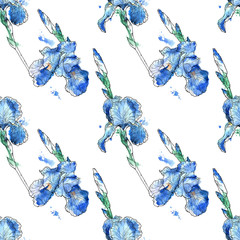beautiful seamless pattern of iris flowers