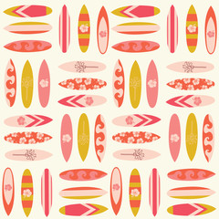 Surfboard seamless vector pattern. Surfing background in retro colors. Summer vacation travel illustration. Surf sport feminine design. Surfer girl. Use for fabric, banner, beach wear, home decor.