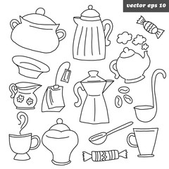 vector outlined kitchen dish set on white background